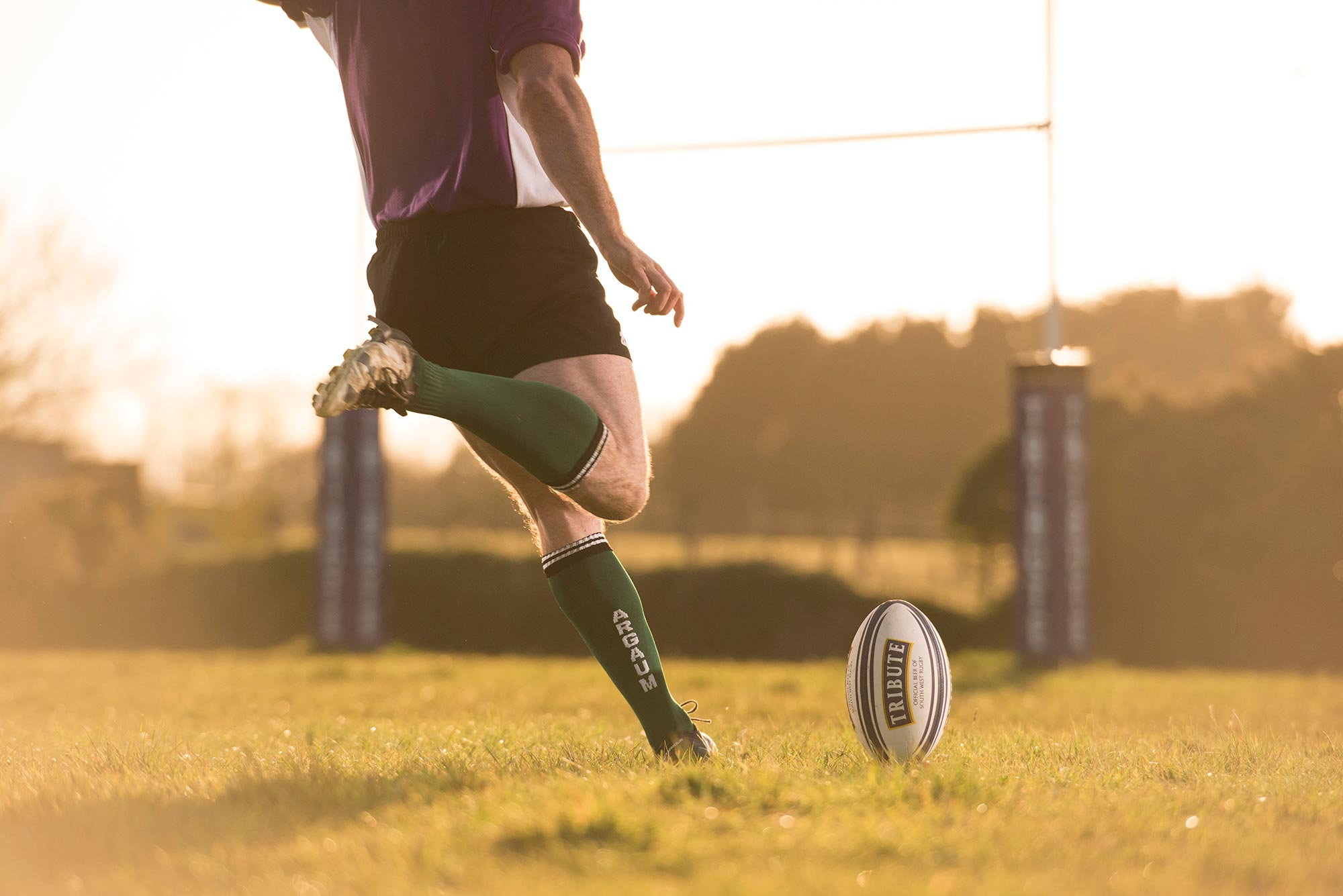 Rugby kick in the sun